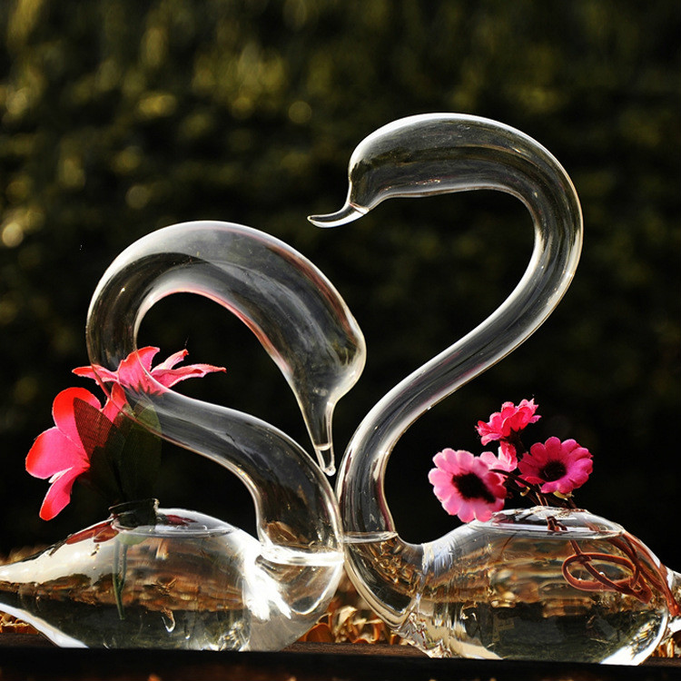 Creative Glass Love Swan Vase Wedding Gifts House Decoration Arts