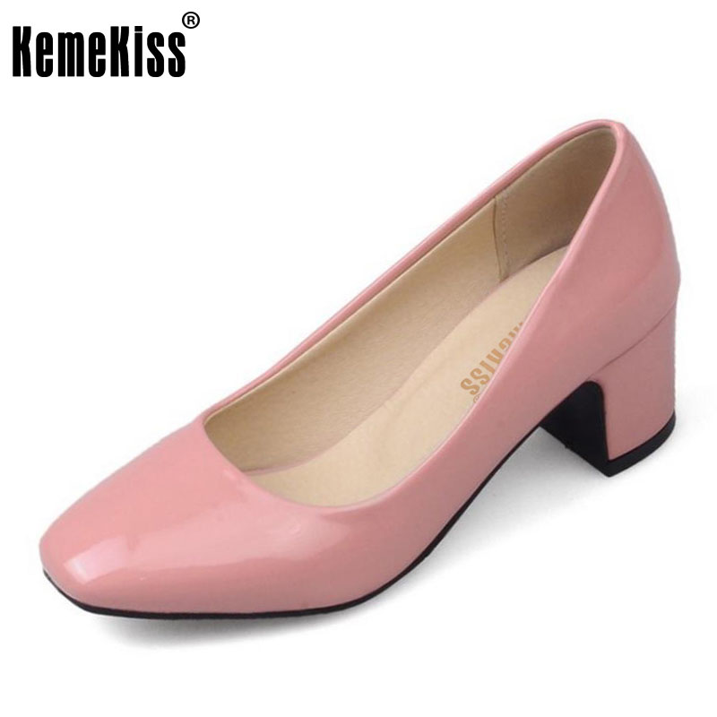 KemeKiss Size 32-45 Women Concise Pumps Square Toe High Heels Shoes Solid Office Lady Thick Heel Pump Party Wedding Footwears kemekiss size 32 48 women point toe shoes high heels women pumps tassels thin heel shoes women sexy party club women footwears