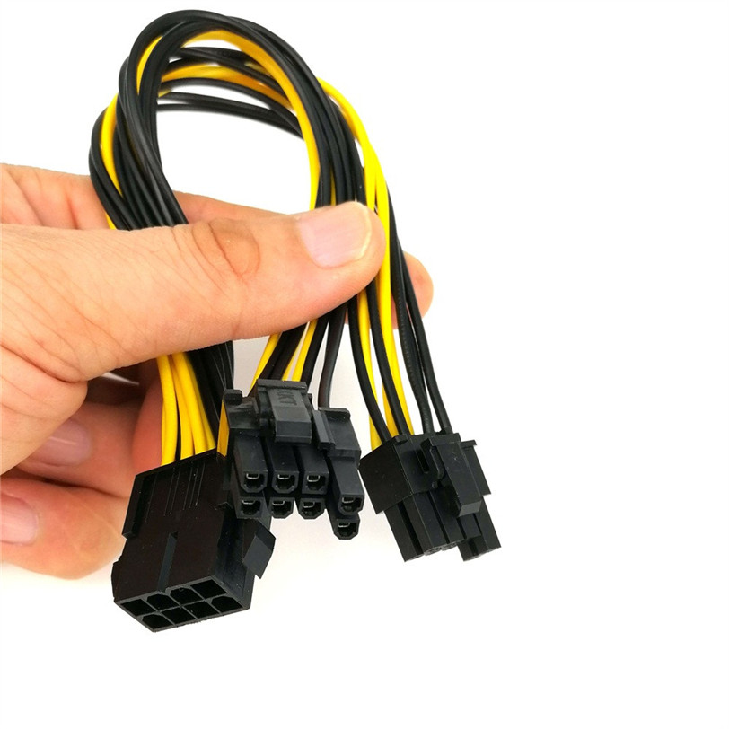 25cm PCI-e 8pin To Dual 8Pin / PCIe 8pin-2x(6+2pin) Graphics Video Card Power Cable Extension Cable