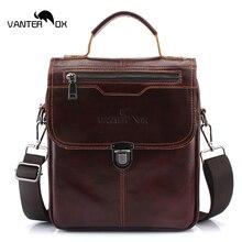 VANTER OX Men's Genuine Leather Shoulder Messenger Bags Male Tote Vintage Small Crossbody Bag Men Business Handbag Messenger Bag