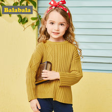 Balabala fashion sweater for autumn sweater for girls twist knitting and stripe asymmetric design costumes toddler girl sweater(China)