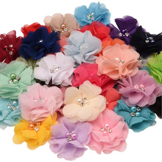 100 pcs 세련 된시 폰 봉 제 꽃 부티크 머리 꽃 라인 석 진주 센터 귀여운 머리 꽃 6 cm 머리 클립 없음