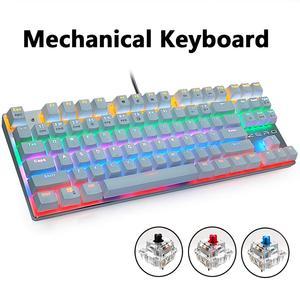 Image 5 - السلكية لوحة مفاتيح الألعاب الميكانيكية الأزرق الأحمر التبديل 87/104 مفاتيح مكافحة الظلال الروسية/الولايات المتحدة LED الخلفية LED للاعبين كمبيوتر محمول