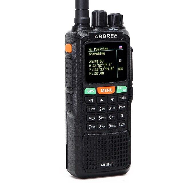 Abbree ar-889g gps sos walkie talkie 10watts 999ch night backlight duplex repeater dual band dual receiving hunting ham cb radio