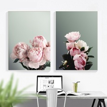 Classic Pink Peony Canvas Painting Wall Art Posters And Prints Flower Picture For Living Room Home Decor Unframed