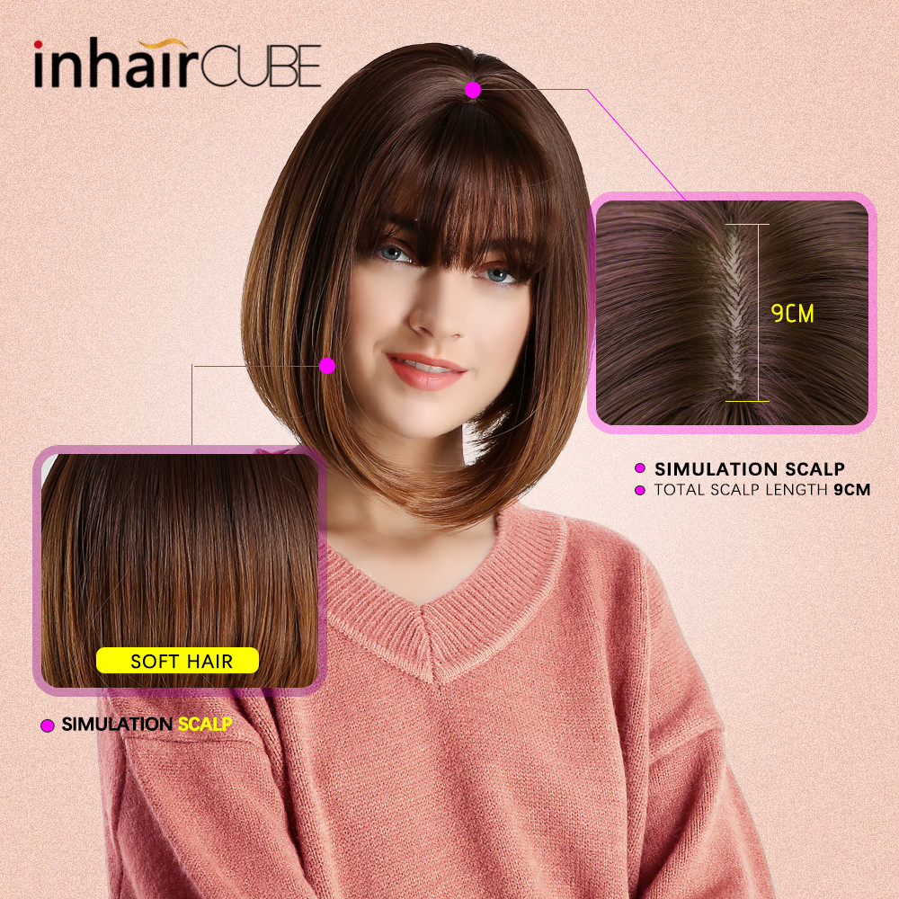 Image 4 - Inhair Cube 10 Inches Bob Synthetic Flat Bangs Women Wig Ombre with Highlight Short Straight Hair Wig  Cosplay Hairstyle-in Synthetic None-Lace  Wigs from Hair Extensions & Wigs