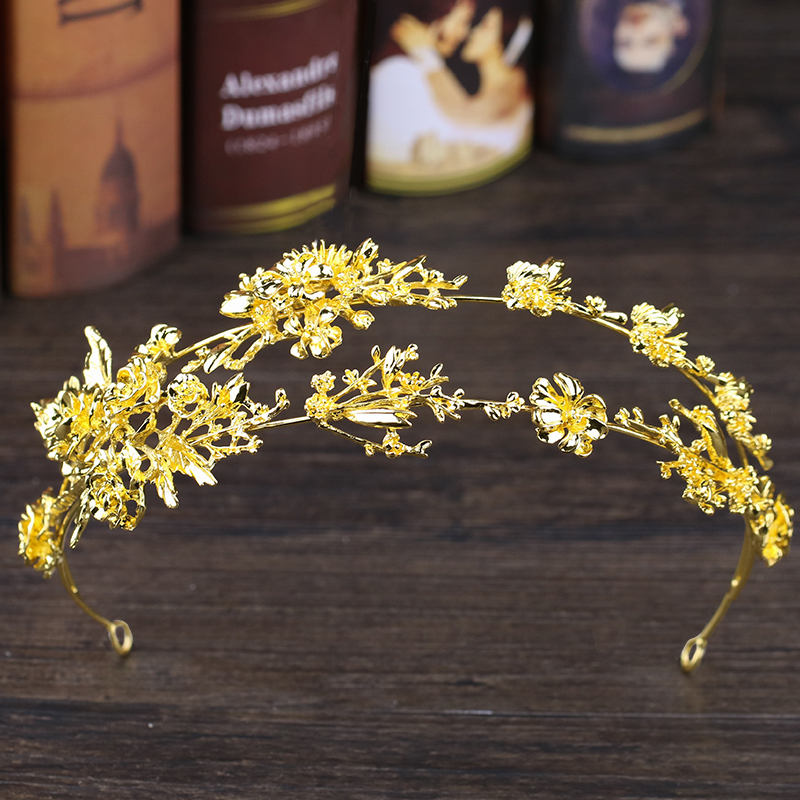 Luxury Gold Flower Tiara And Crown Alloy Headpiece Bridal Headband Vintage Hair Jewelry Double Hairband Weeding Hair Accessories