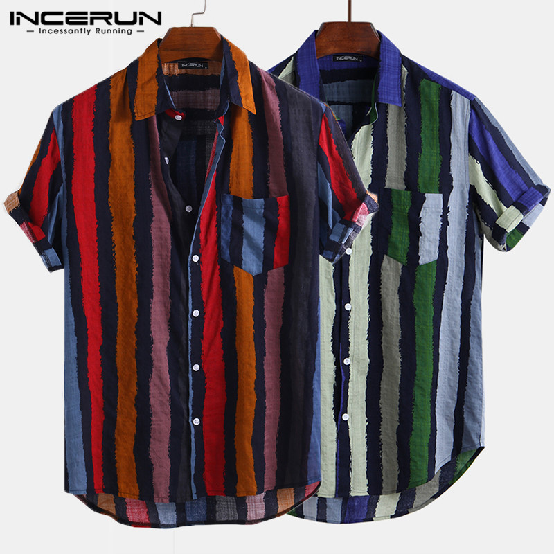 INCERUN <font><b>Striped</b></font> <font><b>Men</b></font> <font><b>Shirt</b></font> Streetwear Button Up Pockets Loose <font><b>Short</b></font> <font><b>Sleeve</b></font> <font><b>Men</b></font> Casual <font><b>Shirts</b></font> 2019 Stylish Camisa Masculina S-5XL image