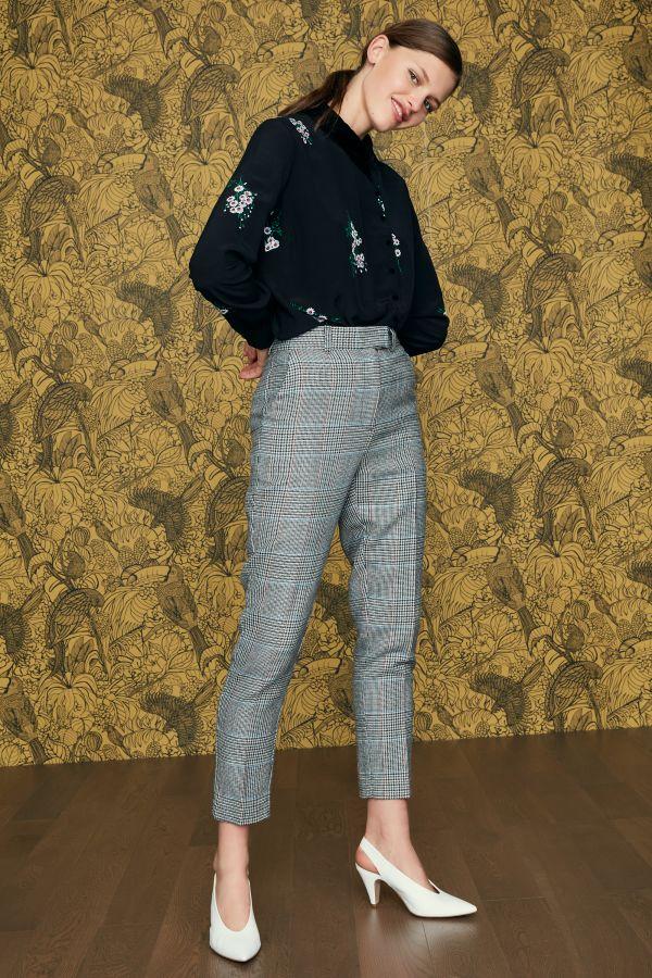 100 Style Européen Vintage Turn À Blouse Viscose Américain Longues Blue down Col Imprimer Manches Et Femmes 1EqwOnTn