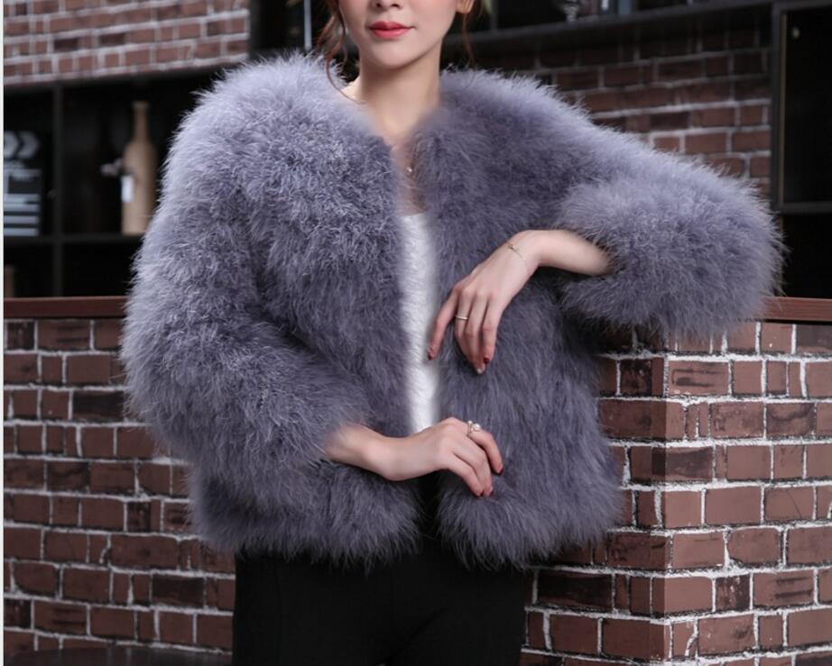 Femme vraie fourrure manteau véritable autruche plume fourrure hiver veste détail femmes vêtements Top qualité vêtements d'extérieur pour femmes