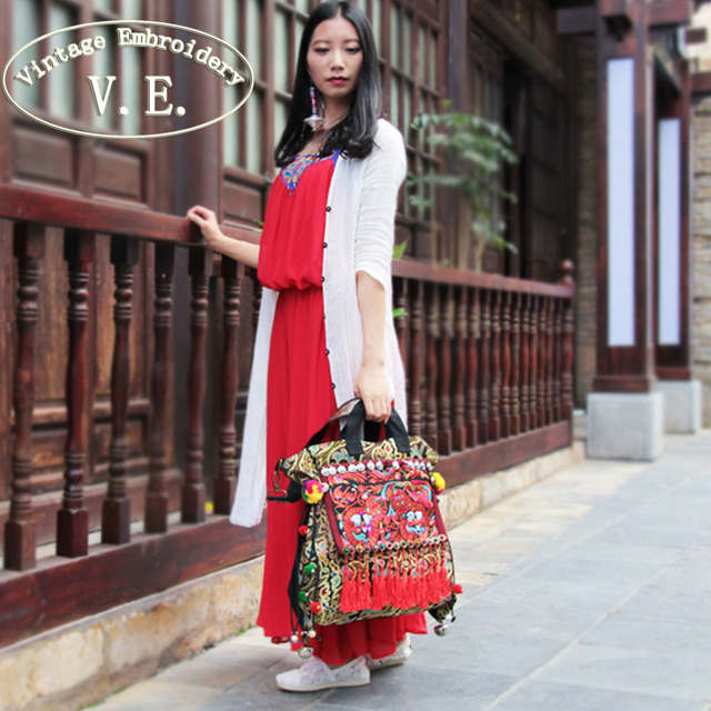 Vintage Embroidery Women Shoulder Bag Ethnic Thailand Original Canvas Tassel Messenger Bags Travel Tote Handbag Bolsa Feminina