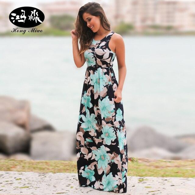 e3a966d4d260 HongMiao Summer Beach Floral Print Dress Women Sleeveless Chiffon Long  Dress Tank Maxi Dresses Sexy Sundress ClubWear
