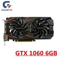 GIGABYTE GTX 1060 6GB Video Card Graphics Cards GPU Map For nVIDIA Geforce Original GTX1060 6GB 192Bit HDMI PCI E X16 Videocard