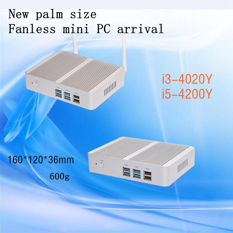 Brand New Fanless Mini Pc I3 4010y I5 4200y Freeshipping 3 Year Warranty Wifi HTPC