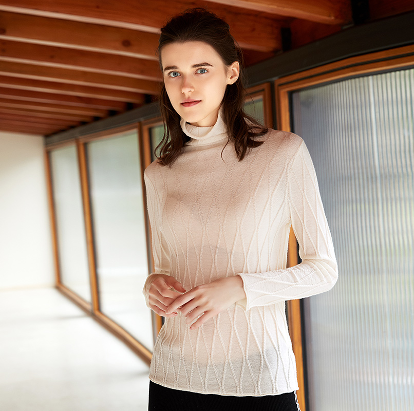 ZHILI 2018 новый осенне зимний отложной Бежевый свитер из 100% шерсти - 4