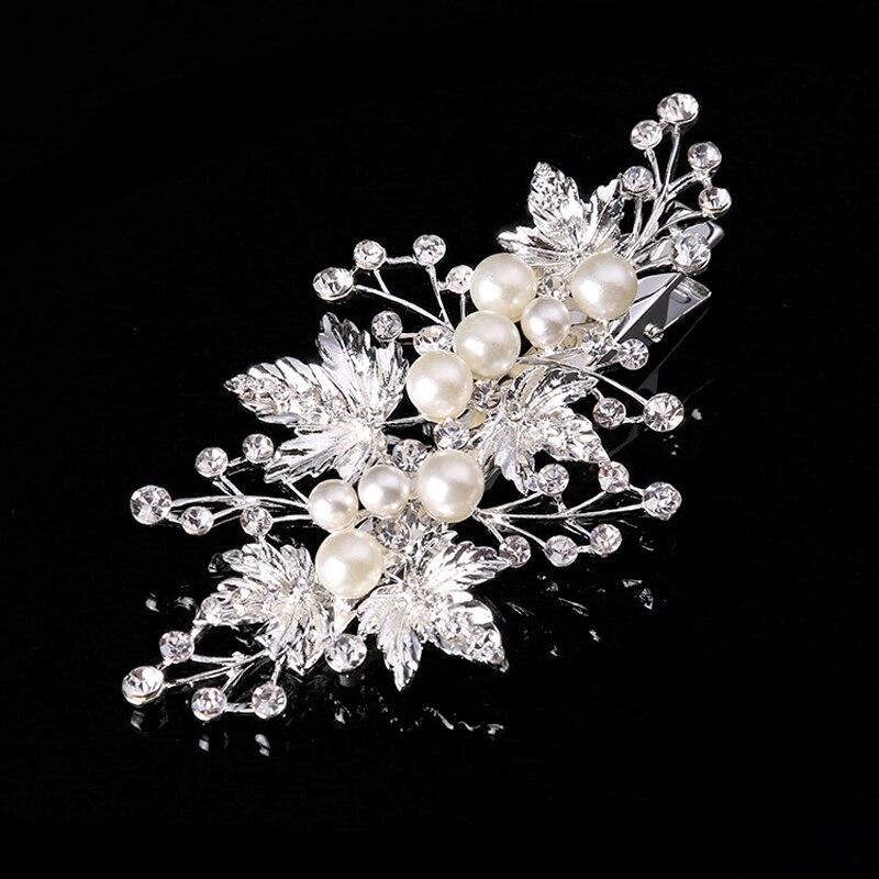Hair Jewelry Wedding-Head-Piece Rhinestone Pearl Bridal Barrette Brides Luxurious Leaf