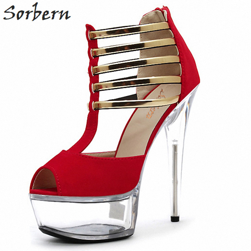 Sorbern Multi High Heel Womens Party Sandals Big Size Shoes Woman Size 44 Sandalias Plataforma Transparant Sandals Block Heels недорго, оригинальная цена