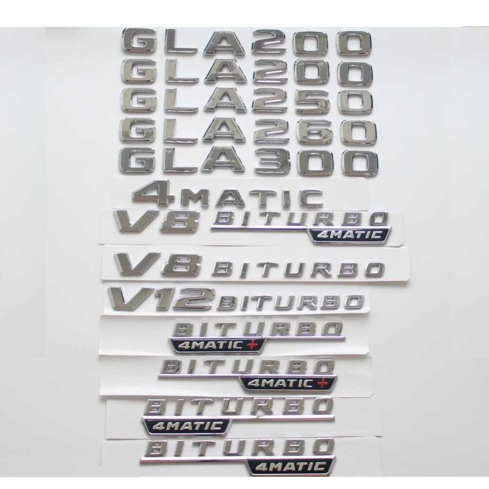 Surat datar Chrome Trunk Fender Badge Lencana Emblem Emblem Sticker untuk Mercedes Benz GLA200 GLA250 GLS300 V8 BITURBO 4 MATIC
