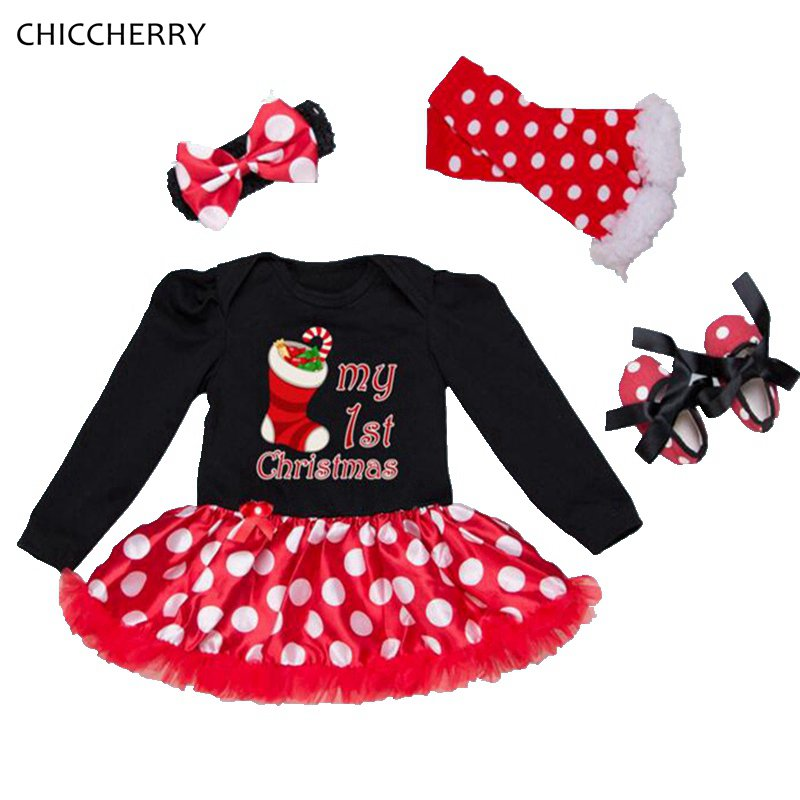 My First Christmas Costumes for Kids Lace Romper Dress Headband Leg Warmers Crib Shoes Newborn Baby Girl Clothes Infant Clothing
