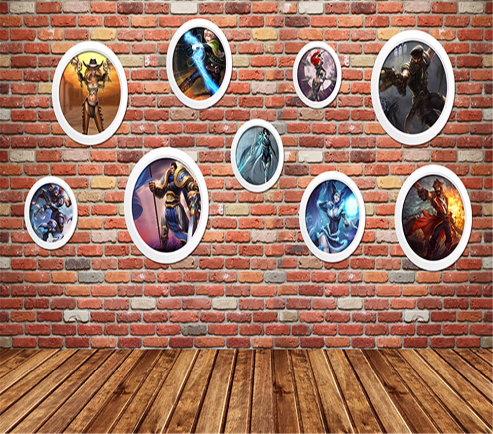 3d custom mural wallpaper hero alliance online game character brick wall television sofa living room children background3d mural