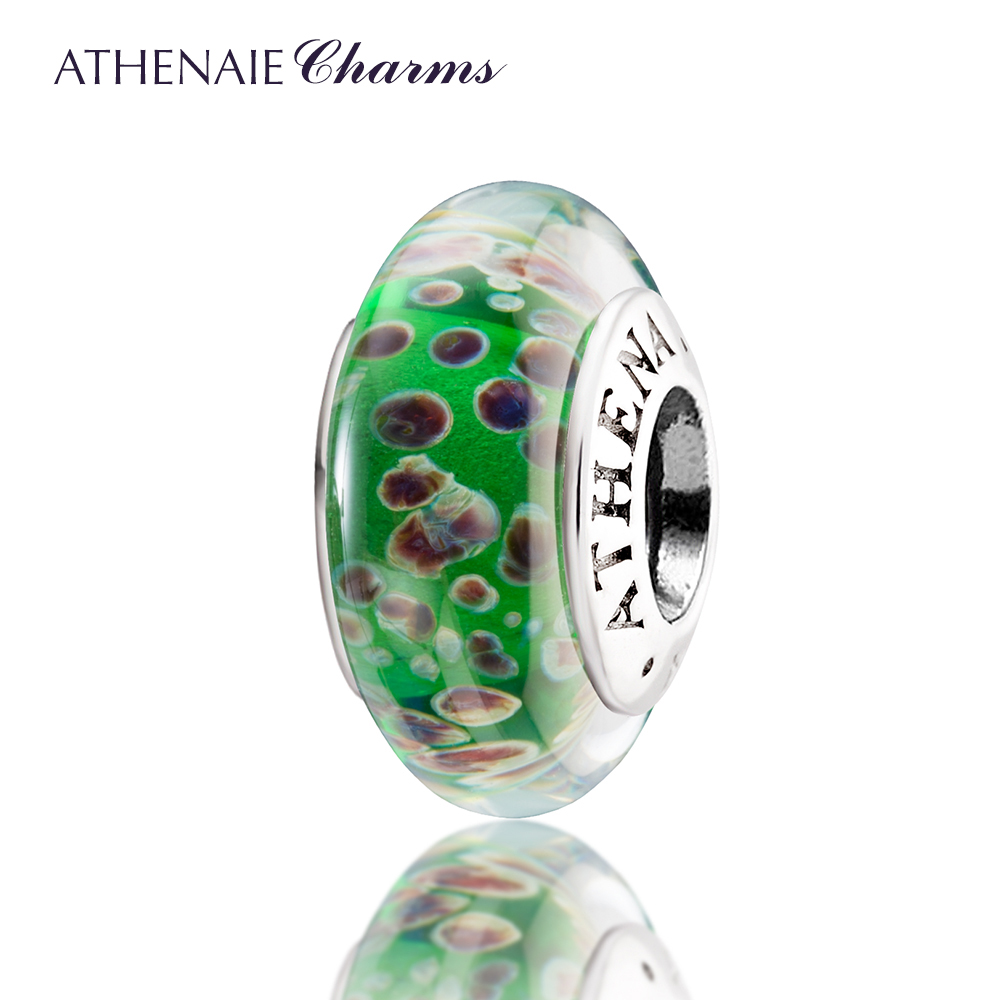 ATHENAIE Genuine Murano Glass 925 Silver Core Songs of Spring Charms Bead Fit All European Bracelets and Necklace