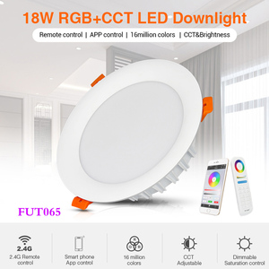 Image 1 - 18W RGB+CCT LED Downlight dimmable AC 220V smart Indoor living room light can Mobile phone APP/Alexa voice/2.4G remote control