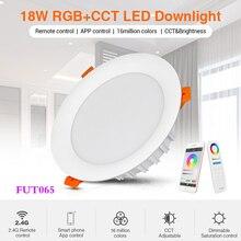 18W RGB + CCT LED typu Downlight ściemniania AC 220V inteligentne oświetlenie do salonu może mobilna aplikacja na telefon/Alexa voice/2.4G pilot
