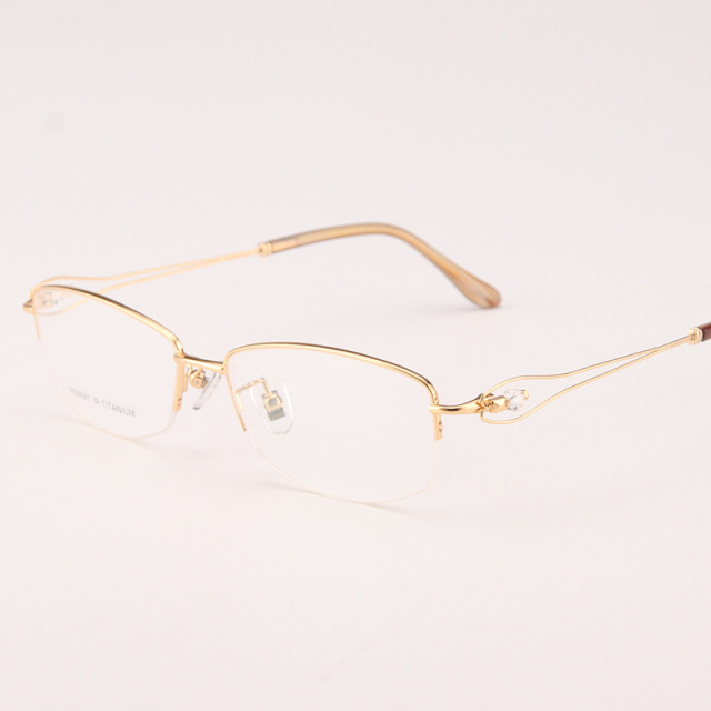 5103624cd17 Ladies  glasses fashion eyeglass gold ultralight titanium frames eye  glasses for optical frame Thin leg half-rimmed glasses 041