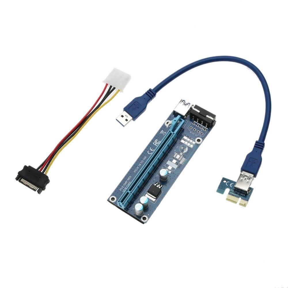 Modernizēts Riser Board PCIe PCI Express Riser karte 1x līdz 16x USB 3.0 datu kabelis SATA līdz 4pin barošanas kabelis 30 / 60cm Bitcoin Miner