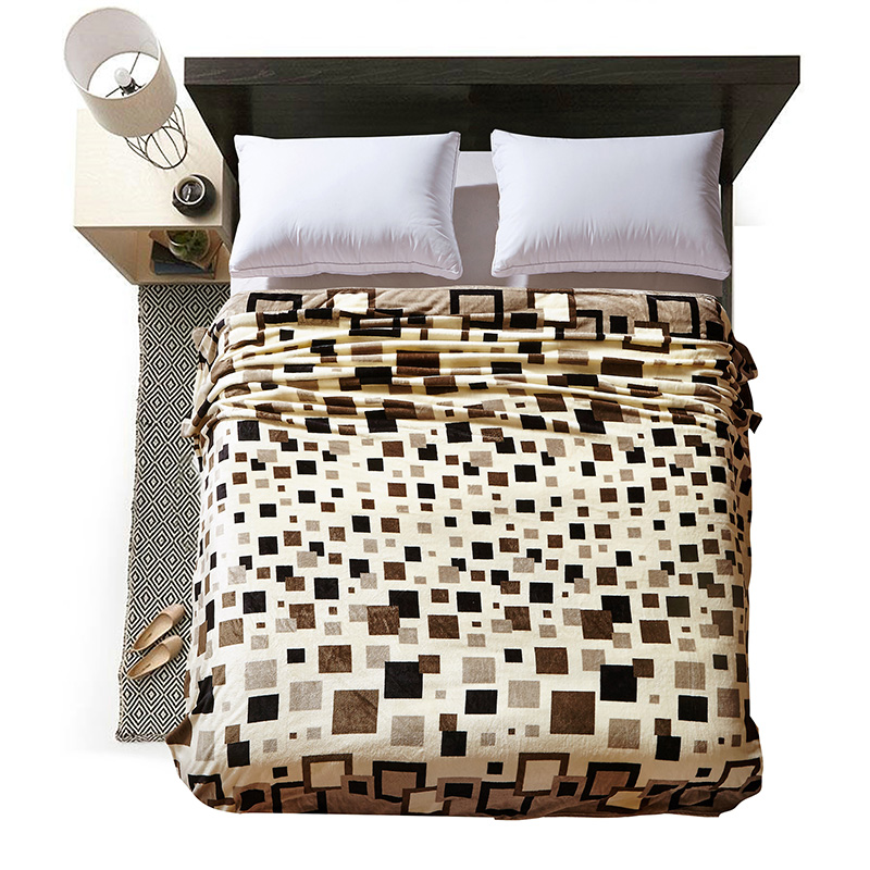Cozzy Soft Plush Fleece Flannel Blanket for Beds <font><b>Sofa</b></font> Couch Brown Geometric Pattern Bed Sheet Single Twin Full Queen King Size