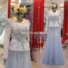 Really Images Lace Mother of the Bride Dresses Sheath Scoop Neck Applique Flowers Long Sleeve Formal yk1A434