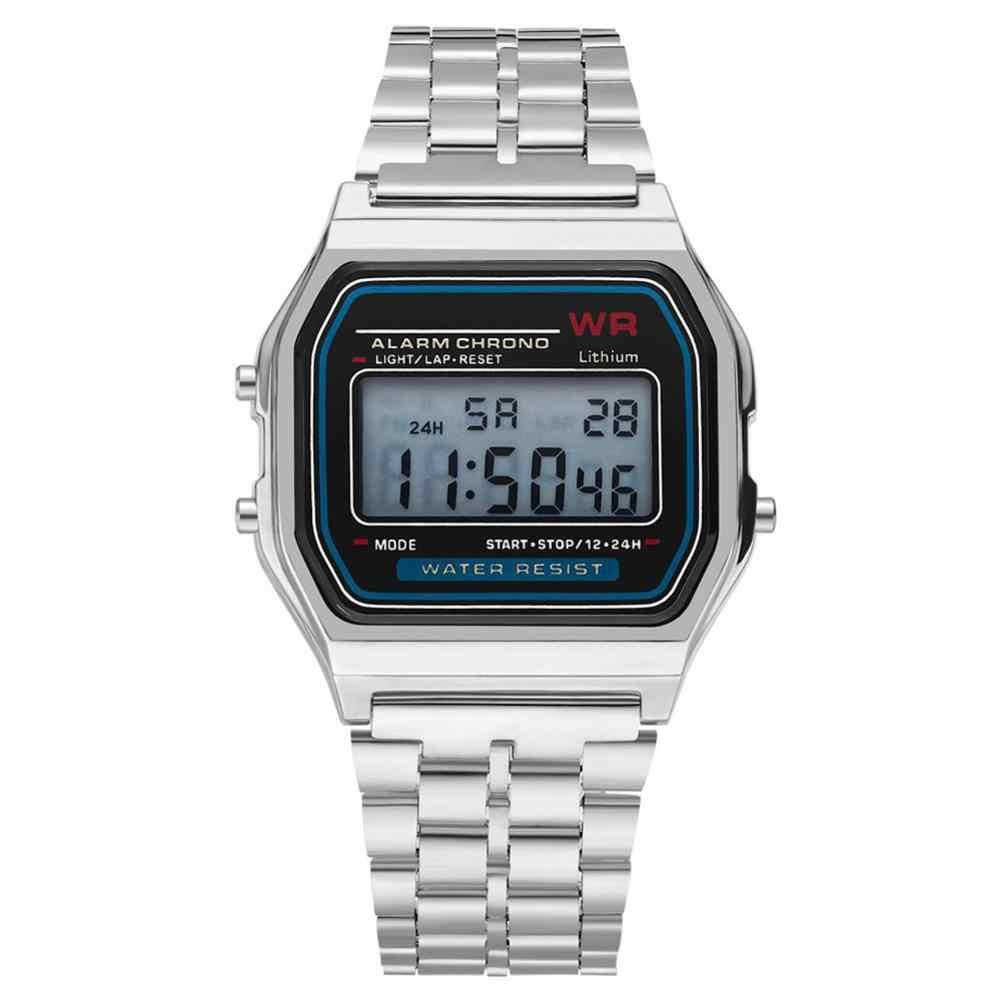 Reloj de pulsera con alarma cuadrado a prueba de agua para hombres y mujeres f9eff6b46bf2