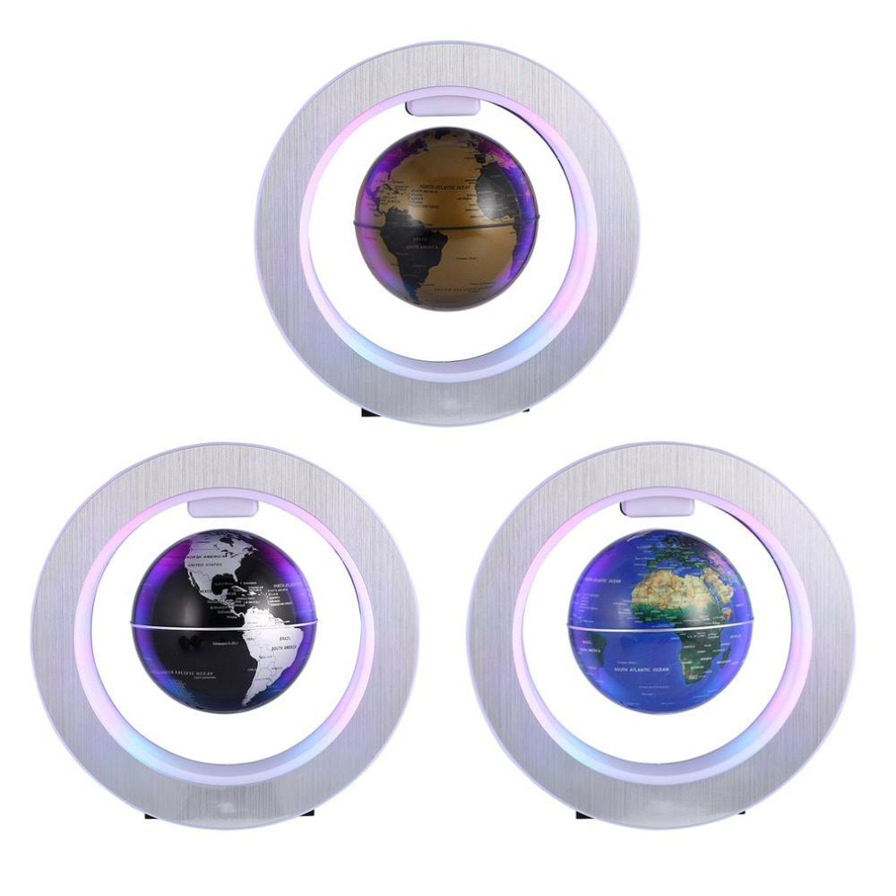 Nouveauté LED Flottant Tellurion Ronde Magnétique Lévitation Globe Carte Du Monde avec Led Lumière Us Plug Accueil Bureau Décor 3 Couleurs