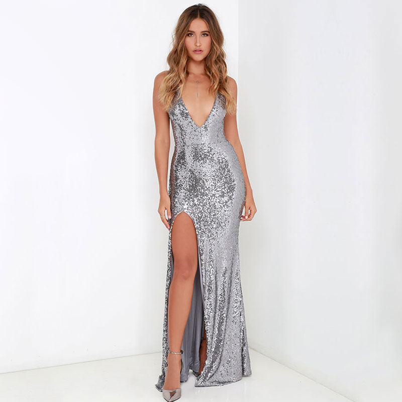 Women Dresses Vintage Sequined Sleeveless Sexy Deep V Neck
