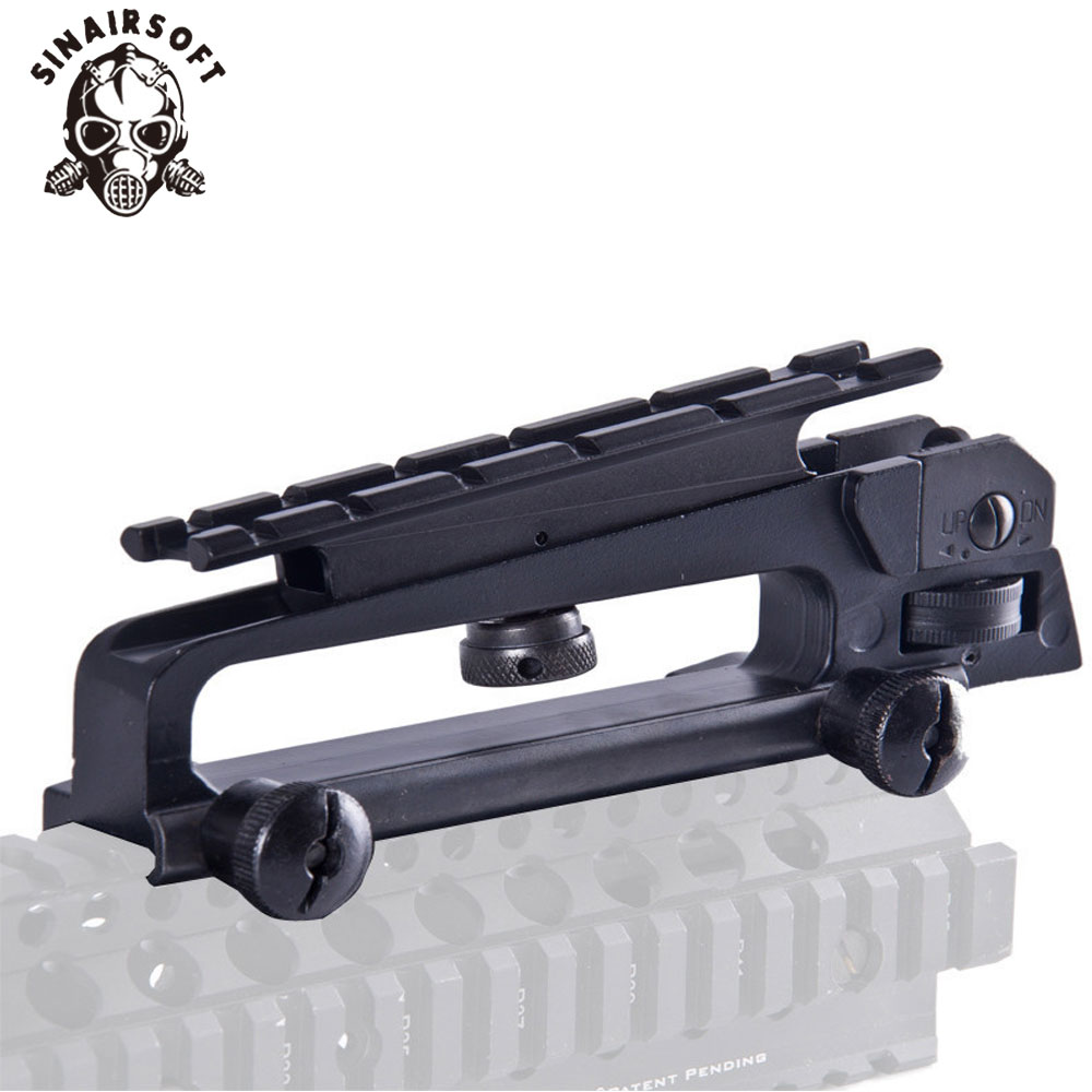 Купить с кэшбэком AR15 Metal Detachable Black Carry Handle Dual Apertures A2 Rear Sight and Picatinny Rail Combo Mount For M4 M16 hunting parts