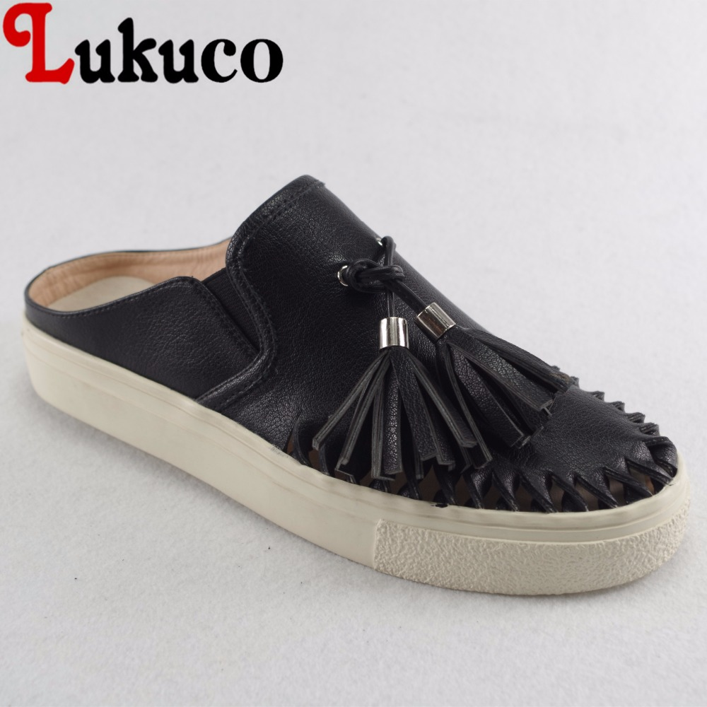 Lukuco pure color round toe women slingbacks flats fringe decoration microfiber made slip-on shoes with pigskin inside lukuco pure color women mid calf boots microfiber made buckle design low hoof heel zip shoes with short plush inside