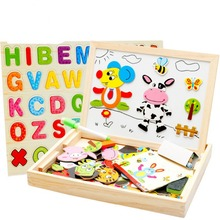 Wooden Multifunctional Magnetic Jigsaw Puzzle Baby Toys Animal Easel Doodle Drawing Board For Children be used in Education Expa