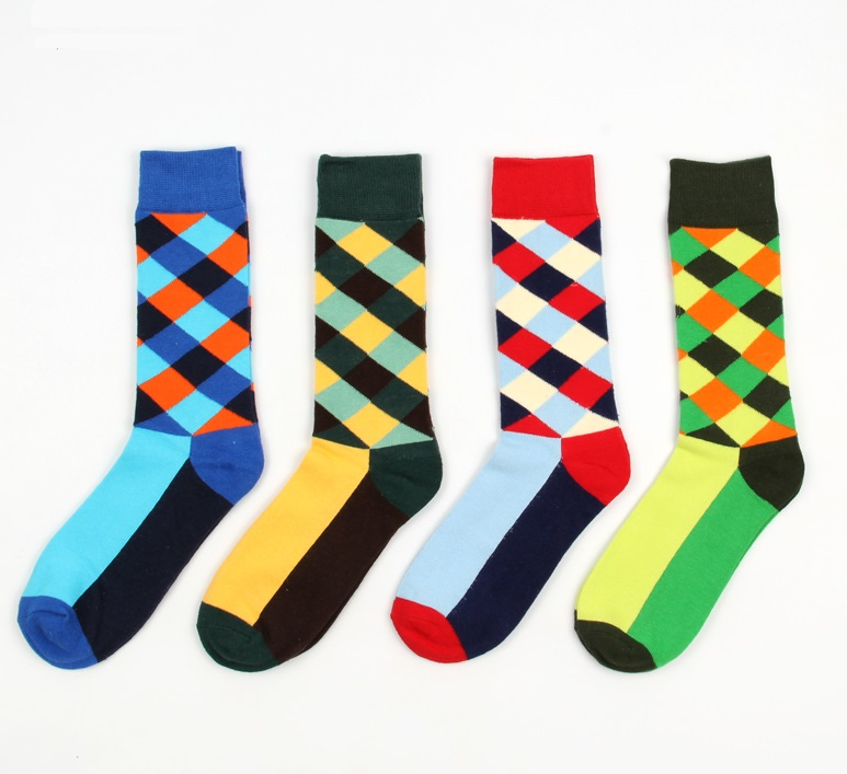 70% Cotton Colorful Chaussette Homme Diamond Argyle pattern Socks Men Dress Socks