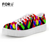 FORUDESIGNS British Style Women Spring Summer Lace Up Flats Round Toe Creepers Casual Ladies Platform Shoes