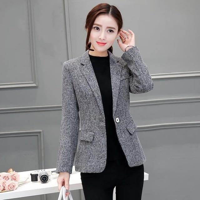 d61688019d6 2018 Autumn Winter Jacket Blazers Women Plus Size Gray Simple Women OL  Style Work Wear Suit Coat Tops One Button Blazer Female