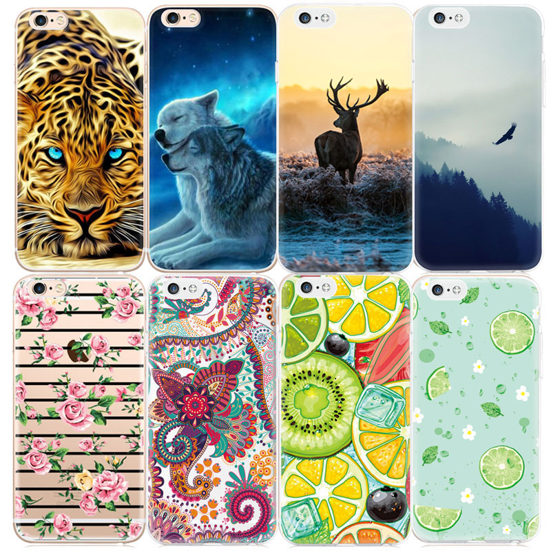 2017 New Pattern Phone Cases For iPhone 7 6 6S Plus 5S SE 5 5C 4 4S Fruits Animals Flowers Printed Cover Capa TPU Silicon Fundas