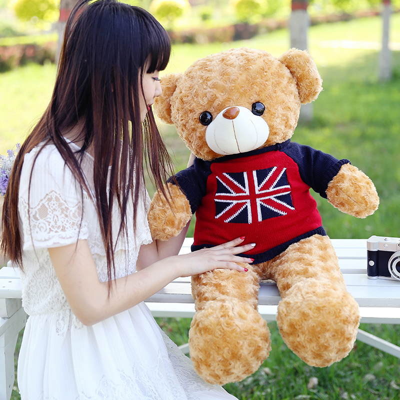 stuffed toy, new arrival large 80cm light brown teddy bear plush toy flag sweater bear doll throw pillow Christmas gift b1277 цена и фото