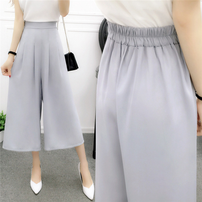 Chiffon   Wide     Leg     Pant   Female Thin High Waist Loose Pantskirt Trousers Ladies Culottes   Pants   Women Summer