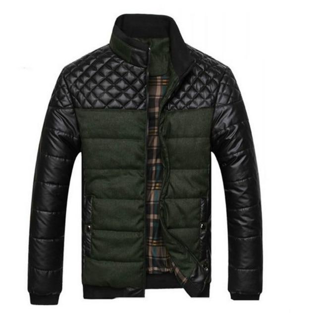 2017 nueva llegada caliente del invierno Hombres de la capa de Cuero de LA PU hombres patchwork capa de la chaqueta hombres Libres del Envío de ropa de moda