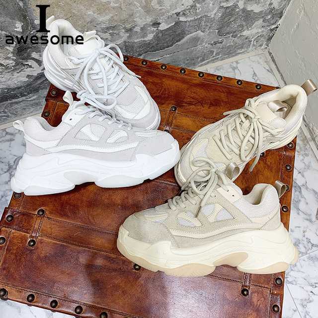 Genuine Leather Retro Dirty Women's Chunky Sneaker 2019 Fashion Vintage Platform Women Dad Sneakers Thick Sole Shoes Flats