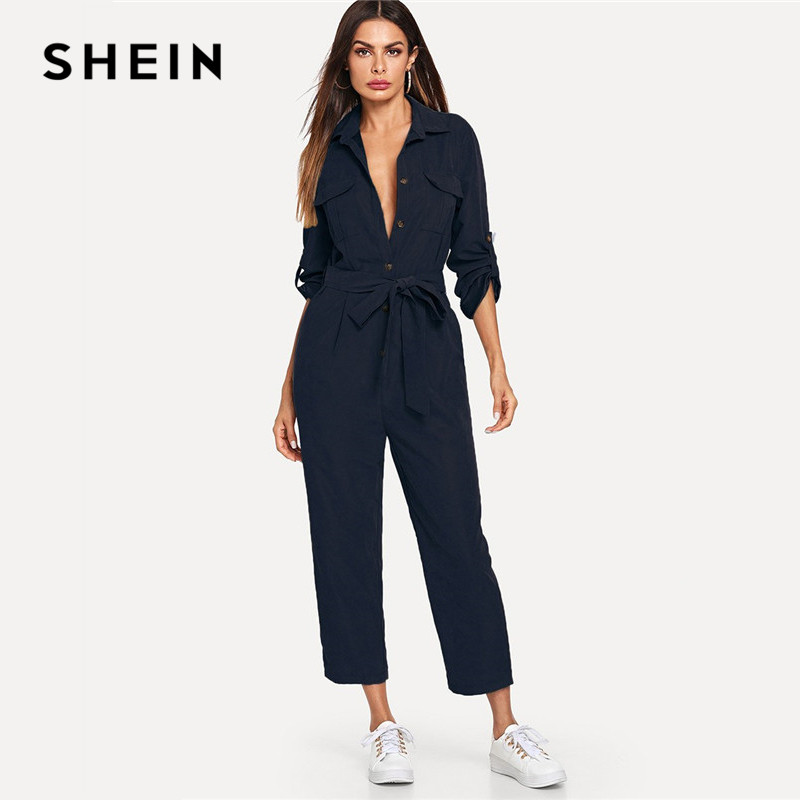 SHEIN Navy Roll Tab Sleeve Button Front Self Belted Jumpsuit Long Sleeve Women Spring Highstreet Casual Maxi Pants Jumpsuit