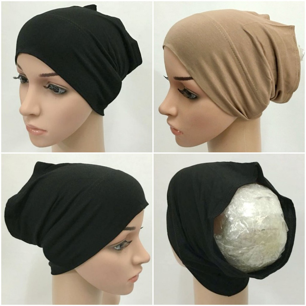 Fashion Modal Cotton Cotton Muslim Inner Hijab Tube Caps Islamic Underscarf Hats  11 colors are available chain