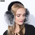Cache Oreille Apressado 2016 Tendência Da Moda Inverno de Couro Cheia de Raposa Naturais da Pele Pacote Earmuffs aquecedores de Orelha Térmicas das Mulheres da Menina