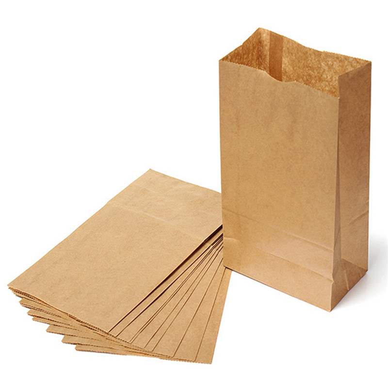10pcs/lot Brown Kraft Paper Gift Bags Candy Packaging Recyclable Jewelry Food Bread Paper Bags for Shops