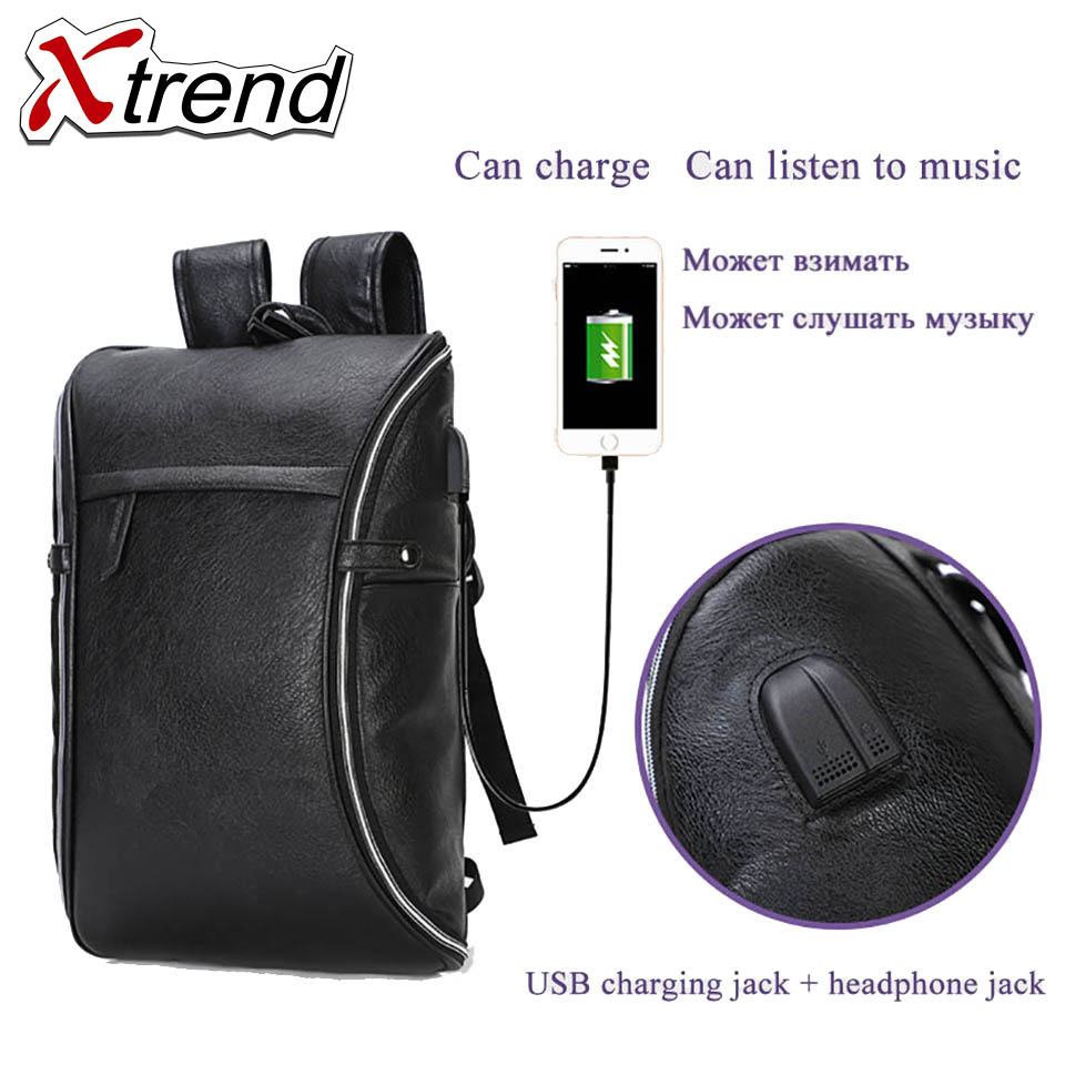 2018 Xtrend USB +Headphone plug bagpack 15.6inch laptop backpack women Men school backpack Bag for boy girls Male Travel Mochila vicuna polo men leather usb cable travel laptop backpack with headphone hole school backpack has front pocket bagpack mochila